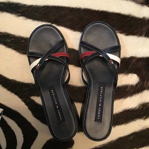 Tommy Hilfiger leather red white blue sandals